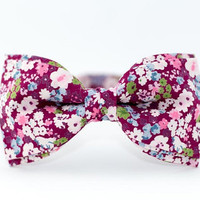 Bow Tie by BartekDesign Magenta Purple Flowers Cotton Wedding