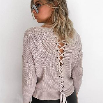 Lace Up Knitted Pullovers Sweaters Women V Neck Long Sleeve Hollow Out Sexy Knitwear Jumper