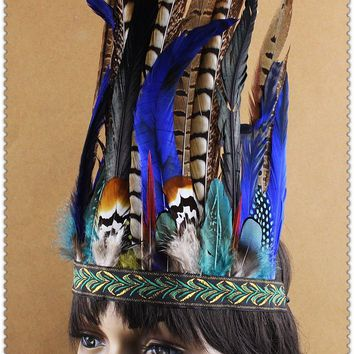 10INCH TALL  Chief Indian feather Headdress Native American War Bonnet  hand made indian costume