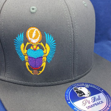 GD Scarab Snapback Hat (Gray hat w/ shiny blue under-brim) Get Shit Done One-of-a-Kind cap Grateful Dead FREE sHIPPING