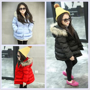 Eafreloy Baby Girls Jacket 2017 Winter Jacket For Girls Coat Kids Warm Fur Hooded Outerwear Children Clothes Infant Girls Clothi