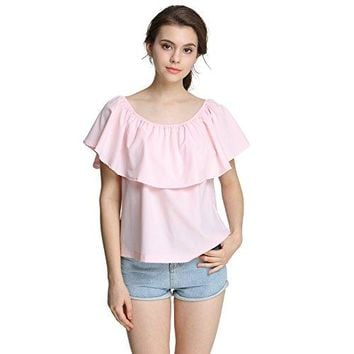 EOVVIO Womens Strapless Ruffles Off Shoulder Tops Loose Blouse