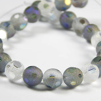 7-3/4 Inch Strand - 8mm Round Violet Gray Mix Frosted Window Cut Glass Beads - Glass Beads - Jewelry Supplies