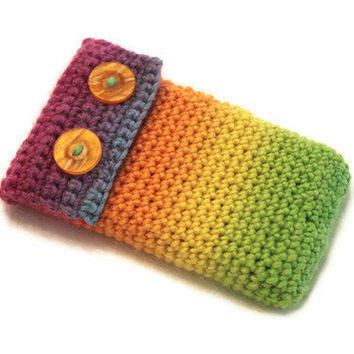 Rainbow Cell Phone Case, Crochet
