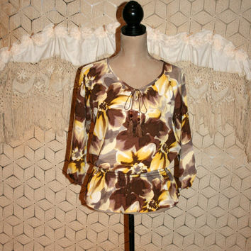 Hippie Boho Top 3/4 Sleeve Bohemian Peasant Blouse Floral Yellow Brown Hippie Clothing Boho Clothing Bohemian Clothing Small Womens Clothing