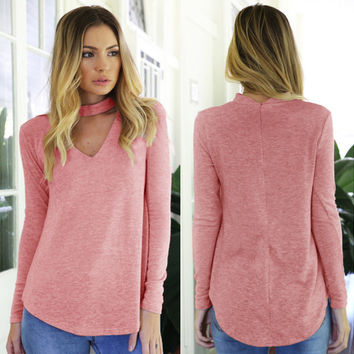 Pink V-Neck Back Halter Long Sleeve Blouse