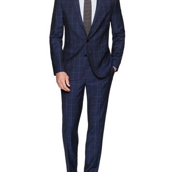 Aspetto Men's Windowpane Wool Suit - Dark Blue/Navy -