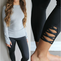 Run The Show Black Active Criss Cross Leggings