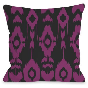"""Forever Ikat"" Indoor Throw Pillow by OneBellaCasa, Gray/Fuchsia, 16""x16"""
