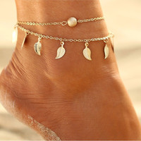 Bohemian Bead and Leaf Anklet