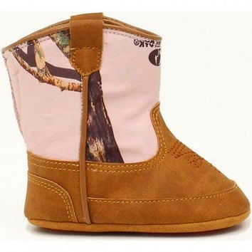 Double Barrel Infant Girls' Jobie Pink Camo Baby Buckers Booties