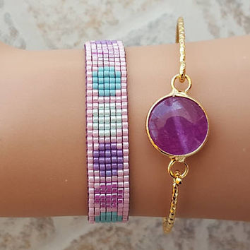 Bangle bracelet, gemstone bangle bracelet, purple gemstone, miyuki bracelet, gold bracelet, set of 2 bracelet, birthday gift