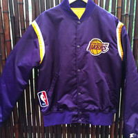 Los Angeles L.A. Lakers NBA Nylon Starter Jacket Size Sz Large Purple Gold Lakers Jacket Made in USA