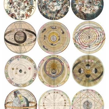 VINTAGE zodiac astrological charts digital download COLLAGE sheet 2.6 inch circles for pins, buttons, magnets etc...