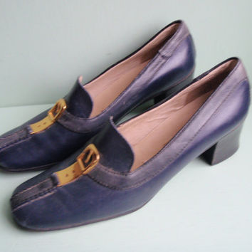 60's Blue GUCCI Authentic Leather madmen Heels Made in Italy Size 7