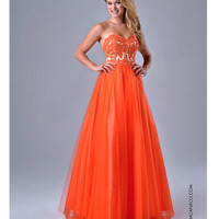 Lace Sweetheart Bodice Orange Dress
