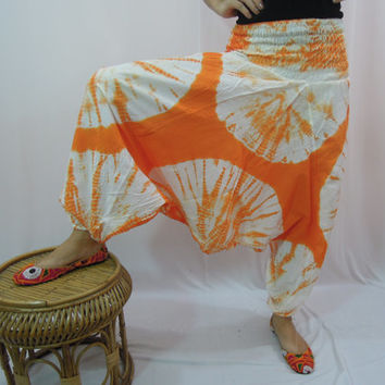 Orange Tie Dye Harem Baggy Loose Genie Pants Trouser Yoga Boho Gypsy Hippie Pants