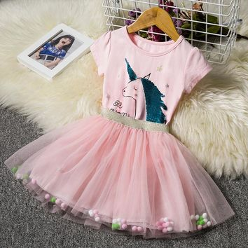 Little Girl Unicorn 34 Party Dress