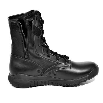 Outdoor Waterproof Army Shoes Side Zip Military Tactical Boots Winter Thicker Athletic Combat Shoes Snow Boots Black 304