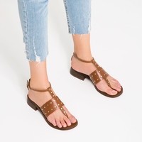FLAT LEATHER STUDDED SANDALS - View all-SHOES-WOMAN | ZARA United Kingdom