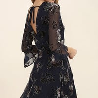 JOA Song of the Heart Navy Blue Velvet Floral Print Dress