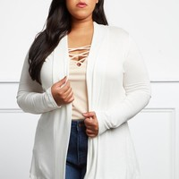 Simple And Sweet Plus Size Open Front Cardigan Tops+ GS-LOVE