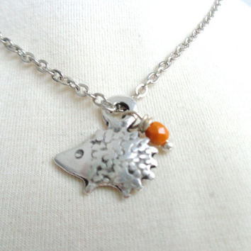 Silver Hedgehog necklace pendant