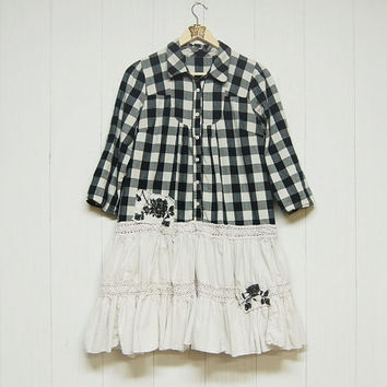 Size M/L  Black and Ivory Checkered Cotton Dress, Boho Country Chic Dress Mori Girl Upcycled Eco Clothing Anthropologie Free People Inspired