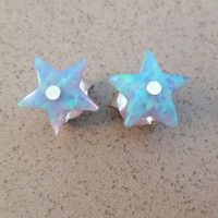 Tiny Star opal stud earrings, blue star post 925 sterling silver earrings, 8X8mm, 1 pair - New Year jewelry under 15.00USD