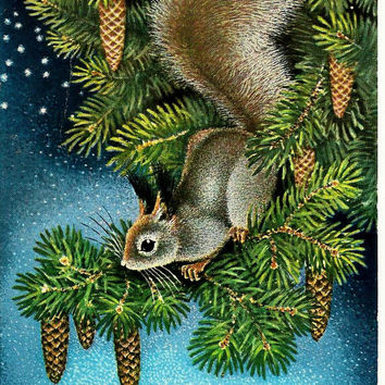 Squirrel, Vintage  Russian Postcard, HappyNew Year, Christmas, print 1977