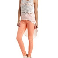 Crochet & Chiffon High-Low Tank Top by Charlotte Russe