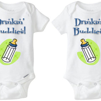 "Baby Gift for Twins: Gerber Onesuit brand body suits - ""Drinkin' Buddies"" with pic of a bottle (set of 2) for identical or fraternal babies!"