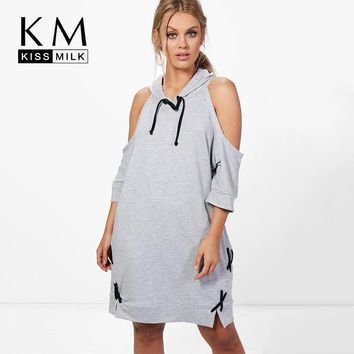 Kissmilk Women Plus Size Cold Shoulder Casual Hoodie Sweatshirt Dress Lace Up Loose Pullovers Tunic Tops Midi Shirt Dress