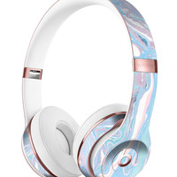 Marbleized Pink and Blue Soft v3 Full-Body Skin Kit for the Beats by Dre Solo 3 Wireless Headphones