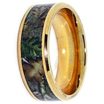 CERTIFIED 8mm Gold Camo Wedding Rings - Camo Promise Ring - Yellow Gold Plated