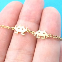 Atari Space Invaders Arcade Themed Alien Pixel Charm Bracelet in Gold | redditgifts