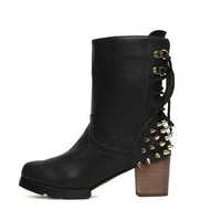 Black Rivet side zip fashion boots  Solid Pop  style 0701004 in