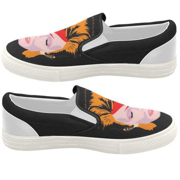 David Bowie Black Slip On Sneakers - Also Available in High Tops or Low Tops