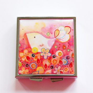 Pill Box, Pill Case, Square Pill box, Square Pill case, 4 Sections, Lauren Alexander, bright colors, Bird, Flowers, Pink (4079)