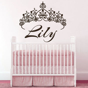 Princess Crown Wall Decals Custom Personalized Name Sticker Vinyl Nursery SM181