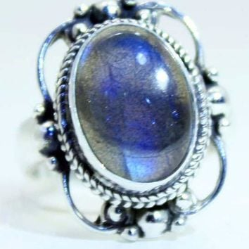 Sterling Silver Victorian Lace Ring with Labradorite