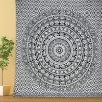 QUEEN Indian cotton psychedelic Elephant mandala tapestry floral wall hanging hippie bedding throws bedspread bohemian boho ethnic decor art