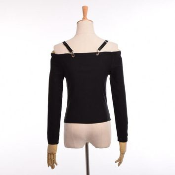 Sexy Goth Punk Slash Neck Shirt Women Black Visual Kei Long Sleeves Crop Tops