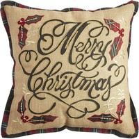 Merry Christmas Pillow - Natural