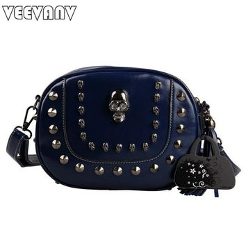 Small Messenger Bags Skull Women Handbags Vintage Rivet Crossbody Bags Tassel Purse Leather Shoulder