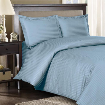 Stripe Blue Down Alternative Bed in A Bag 100% Egyptian cotton 600 Thread count