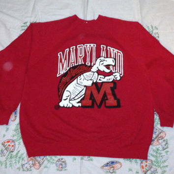 Vintage Awesome 80s MARYLAND TERRAPINS GRAPHIC University College Terps Basketball Red Unisex Medium 50/50 Crewneck Sweatshirt