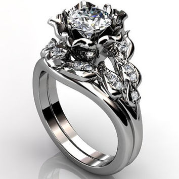 Platinum diamond unusual unique flower engagement ring, bridal ring, wedding ring, flower engagement set ER-1099