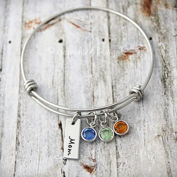 Wire Bangle - Mother Bracelet - Personalized - Grandmother - Adjustable - Birthstone - Mom - Hand Stamped Jewelry - Mother Gift