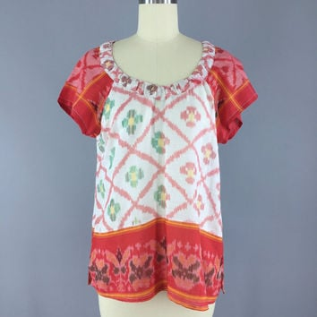Indian Cotton T-Shirt Blouse / Vintage Indian Sari / India Cotton Gauze / Red White Ikat / Size S Small